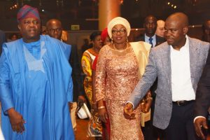 Lagos State Governor, Mr. Akinwunmi Ambode, with his wife, Bolanle, being welcomed to the All African Music Awards (AFRIMA) 3.0 by its President/Executive Producer, Mr. Mike Dada at the Eko Convention Centre, Eko Hotel & Suites, Victoria Island, Lagos, on Sunday, November 6, 2016.