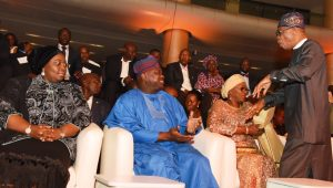 Lagos State Governor, Mr. Akinwunmi Ambode (2nd left), with his wife, Bolanle (2nd right); Minister for Information, Culture & Tourism, Alhaji Lai Mohammed (right) and Deputy Governor, Dr. (Mrs.) Oluranti Adebule (left) during the All African Music Awards (AFRIMA) 3.0 at the Eko Convention Centre, Eko Hotel & Suites, Victoria Island, Lagos, on Sunday, November 6, 2016.