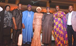 Lagos State Governor, Mr. Akinwunmi Ambode (3rd left); his wife, Bolanle (middle); Minister for Information, Culture & Tourism, Alhaji Lai Mohammed (3rd right); Comedian, Atunyota Akporobome known as Ali Baba (2nd right); President/Executive Producer, AFRIMA, Mr. Mike Dada (right); Deputy Governor, Dr. (Mrs.) Oluranti Adebule (left) and Sunday Adeniyi Adegeye (King Sunny Ade) during the All African Music Awards (AFRIMA) 3.0 at the Eko Convention Centre, Eko Hotel & Suites, Victoria Island, Lagos, on Sunday, November 6, 2016.