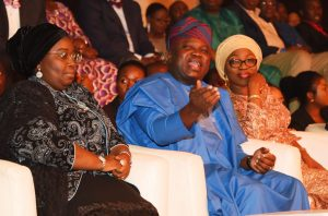 Lagos State Governor, Mr. Akinwunmi Ambode (middle), flanked his wife, Bolanle (right) and Deputy Governor, Dr. (Mrs.) Oluranti Adebule (left) during the All African Music Awards (AFRIMA) 3.0 at the Eko Convention Centre, Eko Hotel & Suites, Victoria Island, Lagos, on Sunday, November 6, 2016.