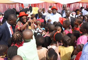 Lagos State Governor, Mr. Akinwunmi Ambode and his wife, Bolanle dancing with the Children during the 2016 Children End of the Year party at the Lagos House, Ikeja, on Tuesday, December 20, 2016.
