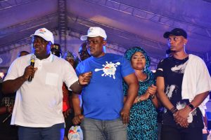 L-R: Lagos State Governor, Mr. Akinwunmi Ambode, with Speaker, Lagos State House of Assembly, Rt. Hon. Mudashiru Obasa; Musician, Queen Salawa Abeni and Hip-Hop/Rap Artist, Reminisce during the Opening of the One Lagos Fiesta at the Agege Stadium, on Saturday, December 24, 2016.