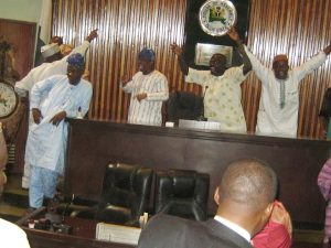 Ogun State House of Assembly in a Rowdy Session PIx: Show the Opposition Honourable Members Take Over the Hollow Chamber of the House. - Photo By WUMI AKINOLA