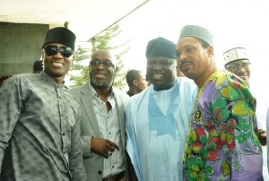 Lagos State Governor, Mr. Akinwunmi Ambode (2nd right), with musicians, Alariwo of Africa (right); Adewale Ayuba  (2nd left) and Sound Sultan (left) during the Governor's meeting with Y2016 One Lagos Fiesta Artistes at the Banquet Hall, Lagos House, Ikeja, on Tuesday, January 17, 2017.