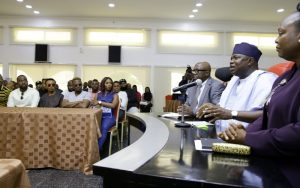 Lagos State Governor, Mr. Akinwunmi Ambode (2nd right), addressing Y2016 One Lagos Fiesta Artistes during his meeting with them at the Banquet Hall, Lagos House, Ikeja, on Tuesday, January 17, 2017. With him are Acting Commissioner & Special Adviser, Tourism, Arts & Culture, Mrs. Adebimpe Akinsola (right) and Permanent Secretary, Ministry of Information & Strategy, Mr. Fola Adeyemi (3rd right).