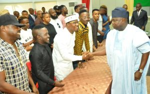 L-R: Lagos State Governor, Mr. Akinwunmi Ambode (right), with Hip-Pop musicians, Idris Abdulkareem; M.I Abaga; Jaywon; Dammy Krane and others during the Governor's meeting with Y2016 One Lagos Fiesta Artistes at the Banquet Hall, Lagos House, Ikeja, on Tuesday, January 17, 2017.