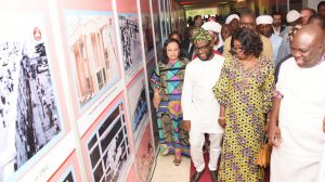 R-L: Lagos State Governor, Mr. Akinwunmi Ambode; his wife, Bolanle; member,House of Representatives, Hon. Babajimi Benson(3rd left) and former Secretary to the State Government, Princess Aderenle Ogunsanya during the Opening of the Rasheed Gbadamosi Art Exhibition as part of activities to celebrate Lagos@50 at the Eko Hotel & Suites, Victoria Island, Lagos, on Friday, January 27, 2017.