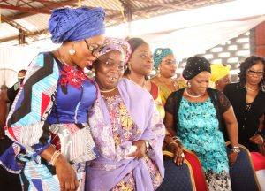 L-R: Wife of Lagos State Governor, Mrs. Bolanle Ambode; Deputy Governor, Dr. (Mrs) Oluranti Adebule; Commissioner for Women Affairs & Poverty Alleviation, Mrs. Lola Akanda; Chairman, Civil Service Commission, Mrs. Adeyinka Oyemade and Permanent Secretary, Ministry of Women Affairs & Poverty Alleviation, Mrs. Abiola Liadi during the distribution ceremony of various empowerment material to graduates of the Lagos State Skill Acquisition Centres, Widows, Senior Citizens and others at the Blue Roof, LTV, Agidingbi, Lagos, on Monday, February 27, 2017.