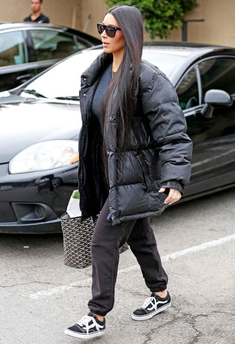 AG_171565 -  - Calabasas, CA - Kim Kardashian is spotted leaving Shirin with Kanye West. The mother of two walks with her daughter, North, and son, Saint. Kim is wearing sweatpants and a tee paired with an oversized puffer jacket and sneakers. Nori is wearing a green Calabasas ensemble and her hair worn in space buns. Saint looks adorable wearing all camo. Both of the kids are wearing Yeezy sneakers while Kim sports Vans. Kourtney Kardashian and her daughter Penelope leave dinner together. The mother daughter duo look cool both wearing black pants, Yeezy sneakers, and leather moto jackets. Pictured: Kourtney Kardashian, Kim Kardashian, Kanye West AKM-GSI 19 FEBRUARY 2017 BYLINE MUST READ: CMaidana / AKM-GSI   Maria Buda (917) 242-1505 mbuda@akmgsi.com   Mark Satter (317) 691-9592 msatter@akmgsi.com or sales@akmgsi.com