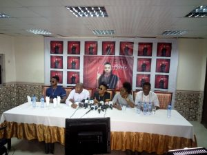L-R: Kiss Daniel, Brand Consultant Edward Isreal Ayide, Sugarboy, Manager, louiza Williams and Don Tee at the press conference held at Beni Apartments, VI, Lagos.