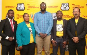 L-R: Compliance Officer, Lagos State Lottery Board, Rowland Samuel; Marketing Director, SBFN, Rosemary Akpo, Representative, CPC, Lagos, Ehi Aigbadon, Marketing Manager, Yusuf Murtala and Deputy Managing Director, Rajiv Das both of Suntory Beverage & Food Nigeria Limited at the launch of the 2017 Lucozade Airtime Promo in Lagos.