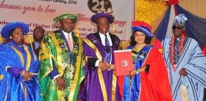 Lagos State Governor, Mr. Akinwunmi Ambode (2nd left); Deputy Governor, Dr. (Mrs) Aderanti Olubule (left); Chancellor, Lagos State University, Rtd. Justice George Oguntade (middle); Mrs. Folorunsho Alakija, being conferred with an Honourary Doctor of Arts and Humane letters (2nd right) and Oba of Lagos, Oba Rilwan Akiolu I (right) during the 21st Convocation ceremony of the Lagos State University at the University Auditorium Complex, Ojo, Lagos, on Thursday, March 23, 2017.