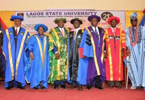 L-R: Lagos State Governor, Mr. Akinwunmi Ambode (3rd left); Pro-Chancellor & Chairman, Governing Council of Lagos State University, Prof. Adebayo Ninalowo; Deputy Governor, Dr. (Mrs) Aderanti Olubule; Professor of Education, Computer in Education & e-learning, Prof. Peter Okebukola;  Chancellor, Lagos State University, Rtd. Justice George Oguntade; Vice Chancellor, Lagos State University, Prof. Olarenwaju Fagbohun and Oba of Lagos, Oba Rilwan Akiolu I  during the 21st Convocation ceremony of the Lagos State University at the University Auditorium Complex, Ojo, Lagos, on Thursday, March 23, 2017.