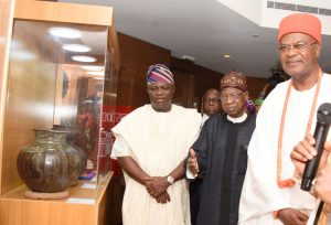 L-R: Lagos State Governor, Mr. Akinwunmi Ambode, with Minister of Information and Culture, Alhaji Lai Mohammed (2nd right) and  Obi of Onitsha, Igwe Alfred Nnaemeka Achebe during the presentation of Museum Possibilities organised by the Lagos State Ministy of Tourism, Arts & Culture in partnership with the Federal Ministry of Information & Culture at the Grand Ball Room, Eko Hotels and Suites, Victoria Island, Lagos, on Monday, March 6, 2017.