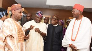 Lagos State Governor, Mr. Akinwunmi Ambode (2nd left); Minister of Information and Culture, Alhaji Lai Mohammed (2nd right); Obi of Onitsha, Igwe Alfred Nnaemeka Achebe (right) and Director General, National Commission for Museums & Monuments, Mallam Yusuf Abdullah Usman (left) during the presentation of Museum Possibilities organised by the Lagos State Ministy of Tourism, Arts & Culture in partnership with the Federal Ministry of Information & Culture at the Grand Ball Room, Eko Hotels and Suites, Victoria Island, Lagos, on Monday, March 6, 2017.