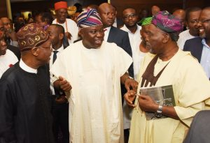 L-R: Lagos State Governor, Mr. Akinwunmi Ambode (middle), with veteran Actor, Olu Jacob (right) and Minister of Information and Culture, Alhaji Lai Mohammed (left) during the presentation of Museum Possibilities organised by the Lagos State Ministy of Tourism, Arts & Culture in partnership with the Federal Ministry of Information & Culture at the Grand Ball Room, Eko Hotels and Suites, Victoria Island, Lagos, on Monday, March 6, 2017.
