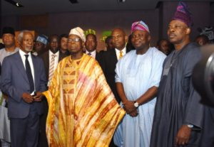 Lagos State Governor, Mr. Akinwunmi Ambode (2nd right); his Ogun State counterpart, Sen. Ibikunle Amosun (right); former President, Chief Olusegun Obasanjo (2nd left) and former Secretary General of the United Nations (UN), Mr. Koffi Annan (left) during the grand opening of the Olusegun Obasanjo Presidential Library at Oke-Mosan, Abeokuta, on Saturday, March 4, 2017. Read more at: http://www.vanguardngr.com/2017/03/photos-grand-opening-olusegun-obasanjo-presidential-library/
