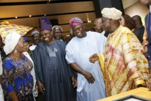 Lagos State Governor, Mr. Akinwunmi Ambode (2nd right); former President, Chief Olusegun Obasanjo (right); Ogun State Governor, Sen. Ibikunle Amosun (2nd left) and Deputy Governor of Osun State, Chief (Mrs) Titilayo Laoye-Tomori (left) during the grand opening of the Olusegun Obasanjo Presidential Library at Oke-Mosan, Abeokuta, on Saturday, March 4, 2017.