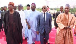 Lagos State Governor, Mr. Akinwunmi Ambode (middle); former Secretary General of the United Nations (UN), Mr. Koffi Annan (2nd right); Governor of Kastina State, Alhaji Aminu Masari (right) Minister of Information and Culture, Alhaji Lai Mohammed (left) and former EFCC Chairman, Alhaji Nuhu Ribadu (2nd left) during the grand opening of the Olusegun Obasanjo Presidential Library at Oke-Mosan, Abeokuta, on Saturday, March 4, 2017.