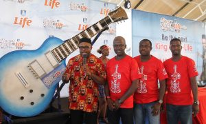 L – R: Corporate Affairs Adviser, NB Plc., Mr. Kufre Ekanem; Portfolio Manager, Mainstream Lager and Stout Brands, NB Plc., Mr. Emmanuel Agu; Senior Brand Manager, Regional Mainstream Brands, Mr. Funsho Ayeni; and Assistant Brand Manager, Regional Mainstream Brands, Mr. Josiah Akinola at the unveiling of the Hi-Life guitar to mark the official launch of Hi-Life Fest by Life Continental Beer in Owerri.