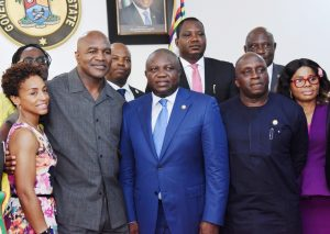 Lagos State Governor, Mr. Akinwunmi Ambode (middle); the former Heavyweight Boxing Champion, Evander Holyfield (2nd left); his Lawyer, Shevon Harris (left); Special Adviser to the Governor on Sports, Mr. Deji Tinubu (2nd right); Manager, Rumble, Funke Michael (right) and others during the courtesy visit by the former heavyweight boxing champion at the Lagos House, Ikeja, on Wednesday, May 24, 2017.