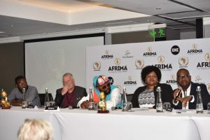 L-R: MD, Content Connect International, Munya Chanesta; Member, AFRIMA Jury (South Africa), Chris Syren; South Africa Music Star, Sjava;Head, Culture Division, African Union Commission, Angela Martins and President/Executive Producer, AFRIMA, Mike Dadaduring the All Africa Music Awards (AFRIMA) 2017 Calendar Unveiling Event held on Tuesday, May 2 at The Maslow, Sandton, South Africa.