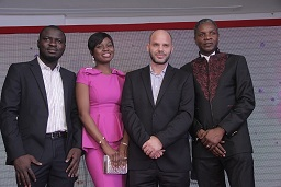L-R: Brand Manager, Imperial Leather, Abiodun Buari; Brand Manager, Beauty, Deedi Modey; Marketing Director, Christos Giouras and Managing Director, Alex Goma, all of PZ Cussons Consumer at the launch of Imperial Leather Deodorant Body Spray in Lagos.