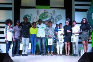 Ace actor, Odunlade Adekola (3rd left) Bolaji Amusan a.k.a. Mr. Latin (5th left) and show anchors, Juliet Ibrahim (3rd right) and Ebube Nwagbo (extreme right) with early arrivals at the Abeokuta edition of the nationwide comedy tour, Glo Laffta Fest on Sunday.