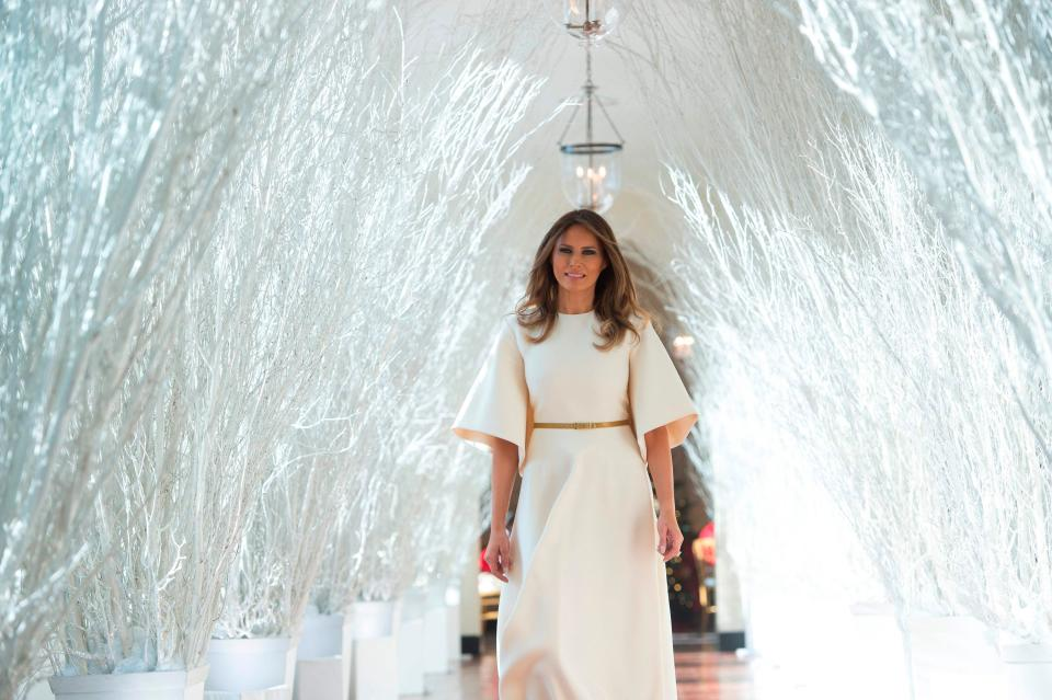 Melania Trump unveils White House Christmas decorations in Dior showstopper