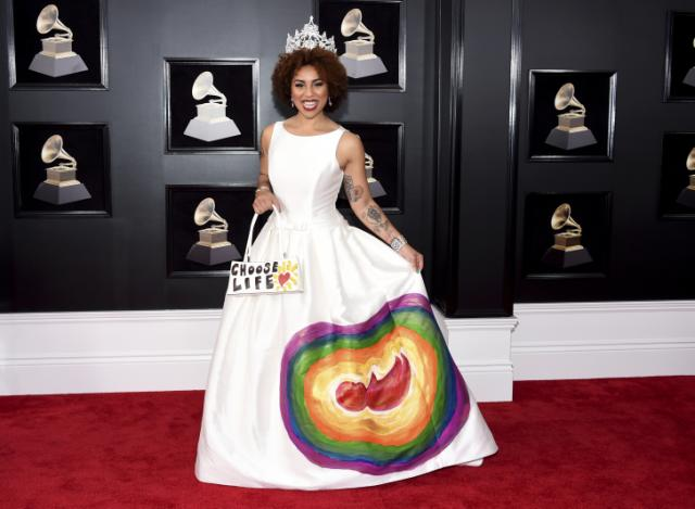 Singer wears anti-abortion dress with a fetus painted on it to 2018 Grammys