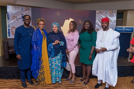Mr Afolabi Imoukhuede, SSA to the President on Job creation and Youth Empowerment; Aisha Augie Kuta, SSA to the Minister of Finance, Amina Mohammed, Deputy Secretary General, UN; Ms. Seun Omobo
