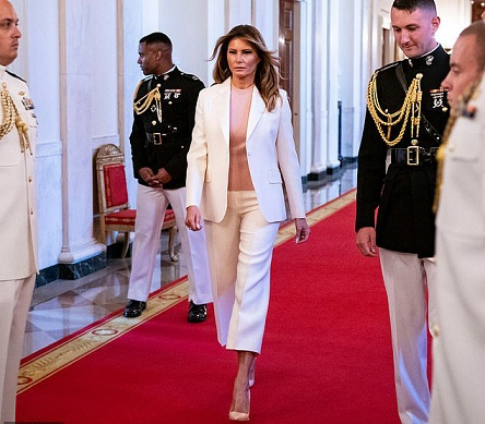 Melania Trump Matches Her Pink Top to Her Heels